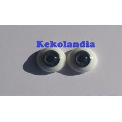 Ojos Cristal Ovalados  - Gris - 22mm