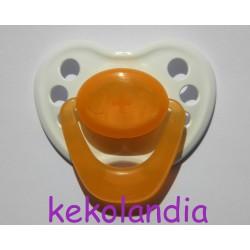 Chupete para bebé reborn - Blanco y Naranja