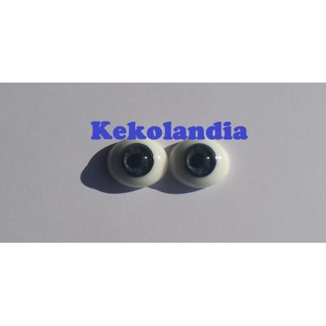 Oval Glass Eyes - Grey- 18 mm