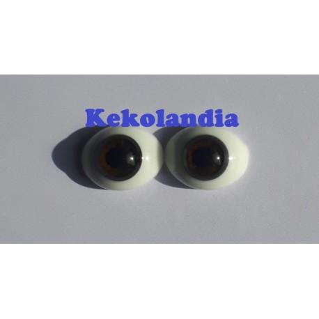 Ojos Cristal Ovalados  - Marrón Chocolate- 18 mm