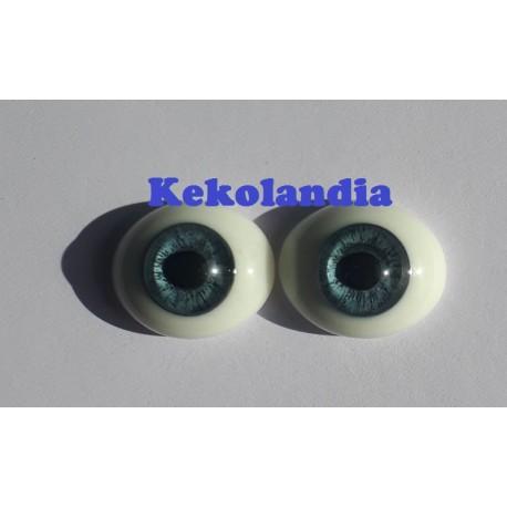 Ojos Cristal Ovalados  - Azul - 18mm