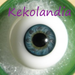 Ojos cristal bola Iris pequeño - Verde Azul - 20 mm