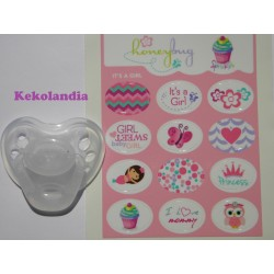 """Girl"" stickers pacifiers"