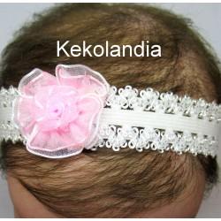 Diadema Kekolandia - Blanca. Flor Rosa - Modelo K26