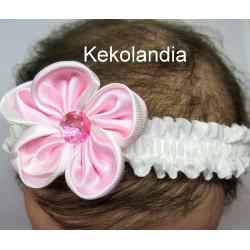 Diadema Kekolandia - Blanca. Flor Grande- Modelo K31
