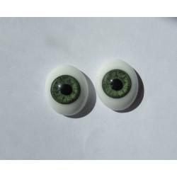 Ojos Cristal Ovalados  - Verde-18mm