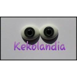 Oval Glass Eyes - Grey-12mm