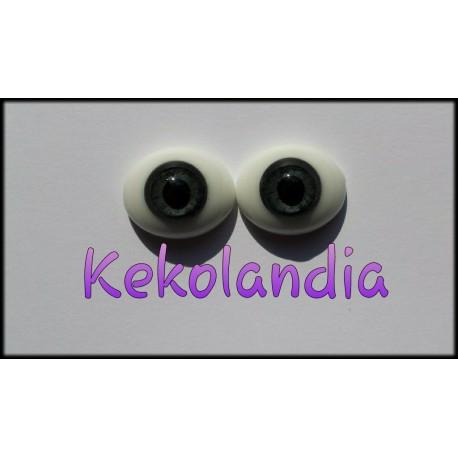 Ojos Cristal Ovalados  - Gris-12mm
